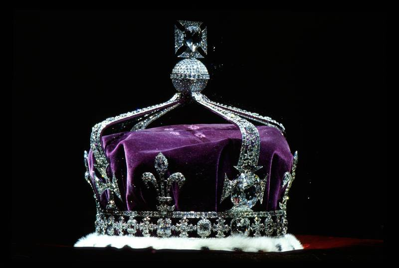 LONDON, UNITED KINGDOM - APRIL 19:  The Crown Of Queen Elizabeth The Queen Mother (1937) Made Of Platinum And Containing The Famous Koh-i-noor Diamond Along With Other Gems.  (Photo by Tim Graham Photo Library via Getty Images)