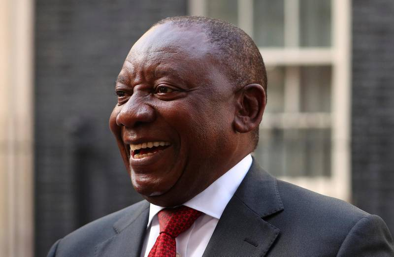 FILE PHOTO: South Africa's President Cyril Ramaphosa speaks after his meeting with Britain's Prime Minister Theresa May in Downing Street, London, April 17, 2018. REUTERS/Hannah McKay/File Photo