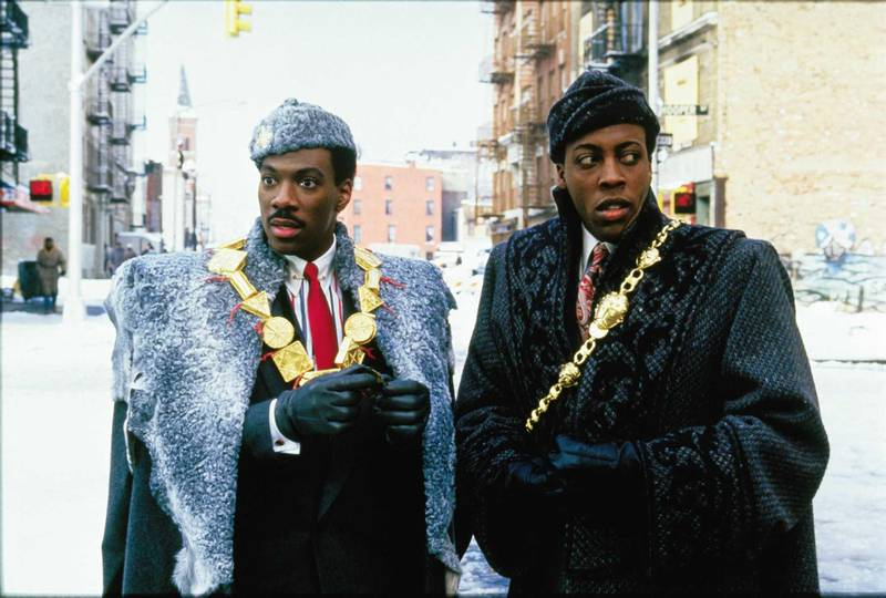 Eddie Murphy and Arsenio Hall in Coming to America. Courtesy Paramount Pictures