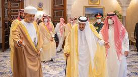 Sultan Haitham of Oman meets Saudi King Salman on first official trip