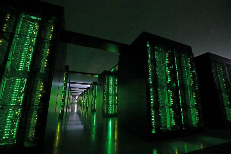 This picture taken on June 16, 2020 shows Japan's Fugaku supercomputer at the Riken Center for Computational Science in Kobe, Hyogo prefecture. - The Fugaku supercomputer, built with government backing and used in the fight against the COVID-19 coronavirus, is now ranked as the world's fastest, its developers announced on June 22, 2020. (Photo by STR / JIJI PRESS / AFP) / Japan OUT