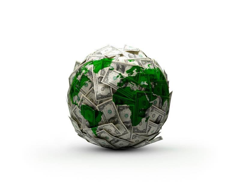 Green and white globe, illustration.