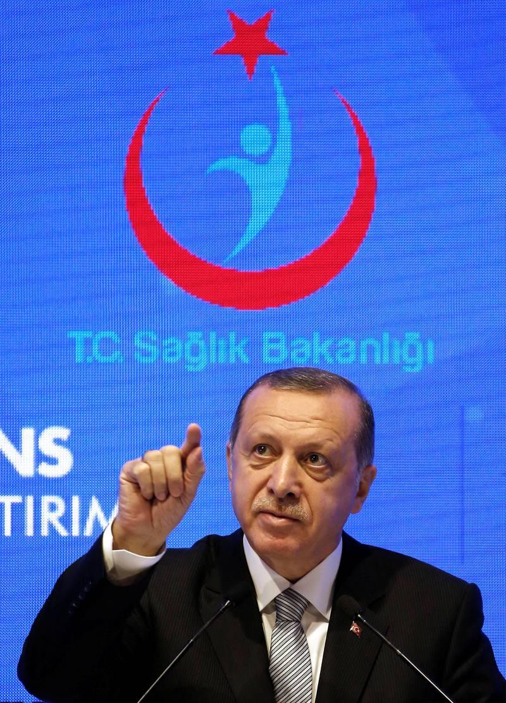 Turkish President Tayyip Erdogan speaks during a ceremony in Istanbul, Turkey, July 21, 2017. REUTERS/Murad Sezer