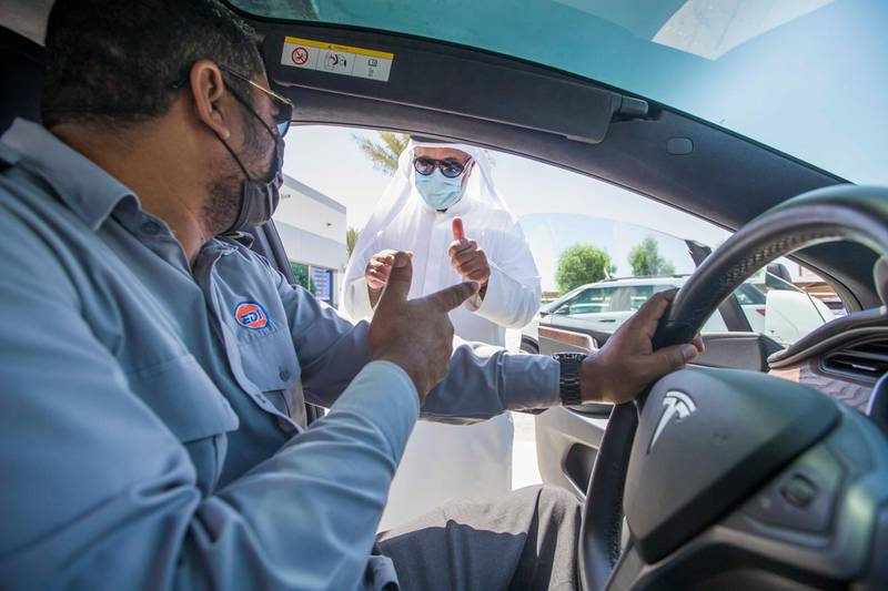 Dubai, United Arab Emirates - Taleb Mahmoud Ayub, Head of Operations speaking to one of the instructor at the Emirates Driving Institute, Dubai.  Leslie Pableo for The National