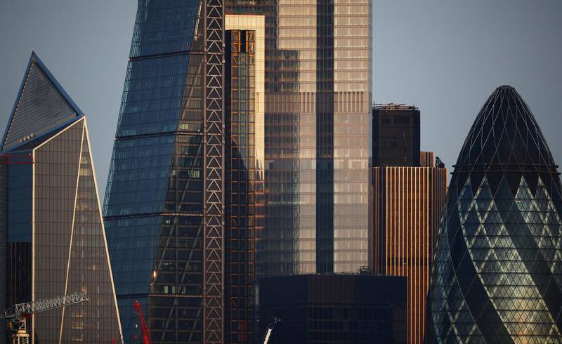 FILE PHOTO: Skyscrapers in The City of London financial district are seen in London, Britain, September 14, 2020. REUTERS/Hannah McKay/File Photo