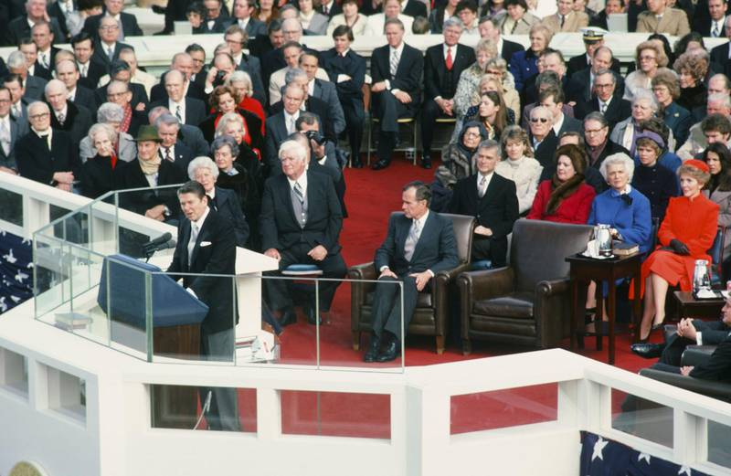 """NBC NEWS -- """"Ronald Reagan First Presidential Inauguration"""" -- Pictured: (l-r) President-elect Ronald Reagan, Mildred O'Neill, House Speaker Tip O'Neill, Vice President-elect George Bush, Senator Mark Hatfield, unknown, Second Lady Barbara Bush, First Lady Nancy Reagan during the first inauguration of President Ronald Reagan on January 20, 1981 in Washington D.C. -- Photo by: NBC/NBC NewsWire"""