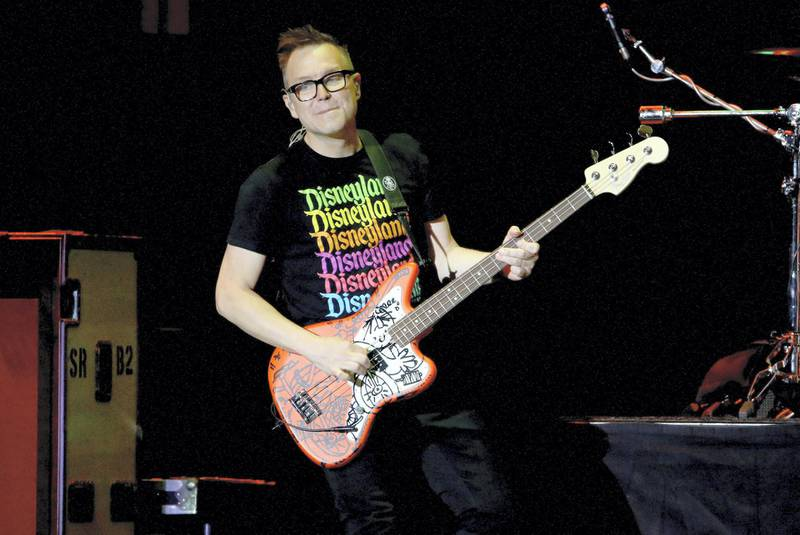 INGLEWOOD, CALIFORNIA - JANUARY 18: (FOR EDITORIAL USE ONLY) Mark Hoppus of blink-182 performs onstage at the 2020 iHeartRadio ALTer EGO at The Forum on January 18, 2020 in Inglewood, California.   Rich Fury/Getty Images for iHeartMedia/AFP (Photo by Rich Fury / GETTY IMAGES NORTH AMERICA / Getty Images via AFP)