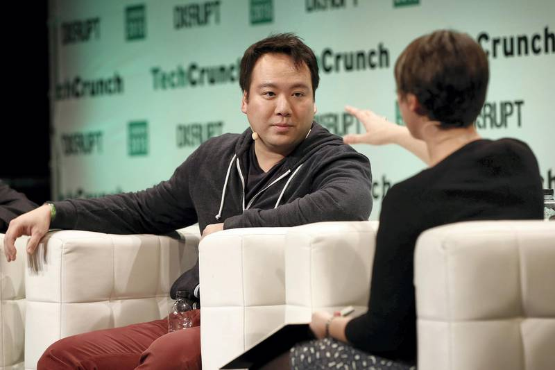LONDON, ENGLAND - DECEMBER 07:  Co-Founder and CEO of @deliveroo William Shu with Ingrid Lunden during Hyperlocality in Europe during TechCrunch Disrupt London 2015 - Day 1 at Copper Box Arena on December 7, 2015 in London, England.  (Photo by John Phillips/Getty Images for TechCrunch)