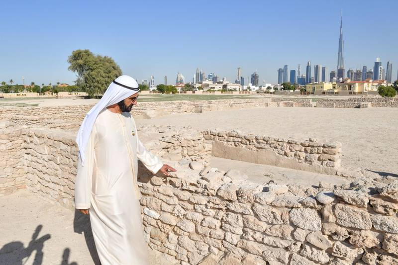 DUBAI, 9th January, 2020 (WAM) -- Sheikh Mohammed bin Rashid, Vice President, Prime Minister and Ruler of Dubai, has visited the Jumeirah Archaeological Site. The site is one of the most historical archeological sites in the UAE and was discovered in 1969. The site belongs to the Abbasid era in the 9th century, when the settlement served as a caravan stop along a trading route connecting Iraq and Oman to India and China. Wam