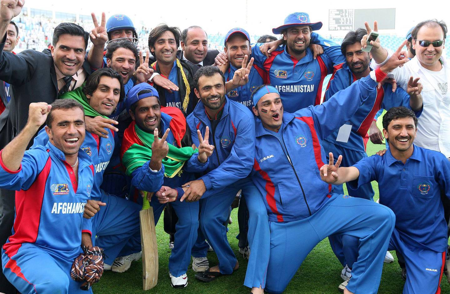 DUBAI, UNITED ARAB EMIRATES, Feb 13 Afghanistan cricket team players and officials in a jubilant mood after Afghanistan beat UAE by 4 wickets in the ICC world twenty20 qualifier cricket match at Dubai International Cricket Stadium in Dubai Sports City in Dubai. (Pawan Singh / The National) For Sports. Story by Paul