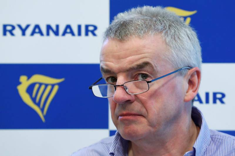 Ryanair CEO Michael O'Leary holds a news conference in Brussels, Belgium, March 6, 2018. REUTERS/Yves Herman
