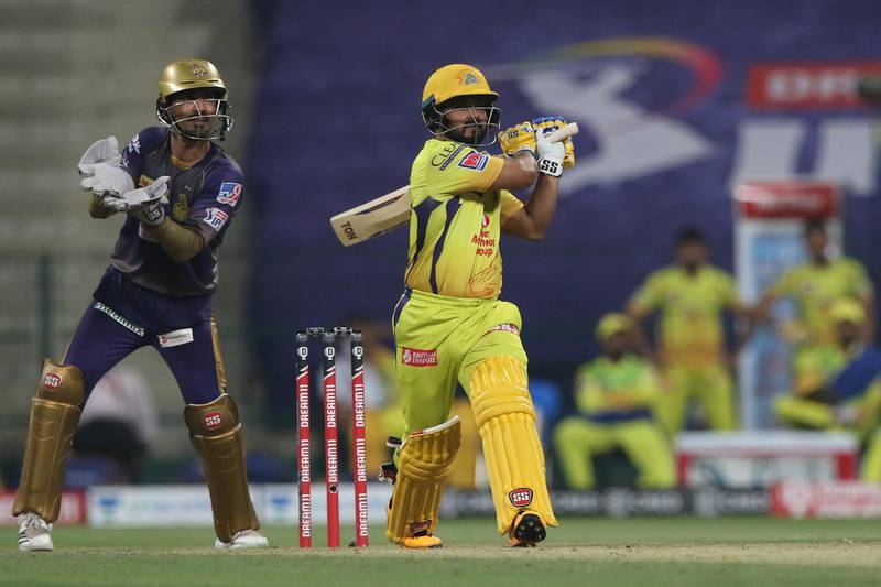 Kedar Jadhav of Chennai Superkings plays a shot during match 21 of season 13 of the Dream 11 Indian Premier League (IPL) between the Kolkata Knight Riders and the Chennai Super Kings at the Sheikh Zayed Stadium, Abu Dhabi  in the United Arab Emirates on the 7th October 2020.  Photo by: Pankaj Nangia  / Sportzpics for BCCI
