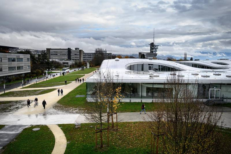 This picture taken on November 27, 2019 shows a view of the Swiss Federal Institute of Technology Lausanne (EPFL) campus in Lausanne. (Photo by FABRICE COFFRINI / AFP)