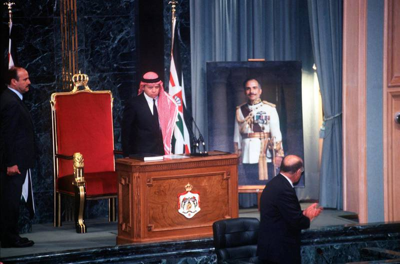 346318 01: Jordan, Amman, Feb. 7, 1999 (671481-001) Jordan's King Abdullah Is Sworn In After The Death Of King Hussein As Prince Hassan Looks On.  (Photo By Scott Peterson/Getty Images)