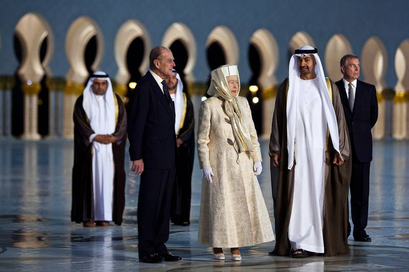 November 24, 2010 - Abu Dhabi, UAE -   Queen Elizabeth II and her husband Prince Philip, the Duke of Edinburgh, arrive at Sheikh Zayed Grand Mosque with HH Sheikh Mohammed Bin Zayed Al Nahyan, Crown Prince and Deputy Supreme Commander of the UAE Armed Forces, and Prince Andrew, the Duke of York, on Wednesday November 24, 2010.  (Andrew Henderson/The National)