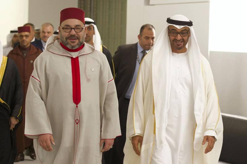 SAADIYAT ISLAND, ABU DHABI, UNITED ARAB EMIRATES -November 08, 2017: HH Sheikh Mohamed bin Zayed Al Nahyan Crown Prince of Abu Dhabi Deputy Supreme Commander of the UAE Armed Forces (R) and HM King Mohamed VI of Morocco (L), arrive for the opening ceremony of the Louvre Abu Dhabi.  ( Omar Al Askar  for The Crown Prince Court - Abu Dhabi ) ---