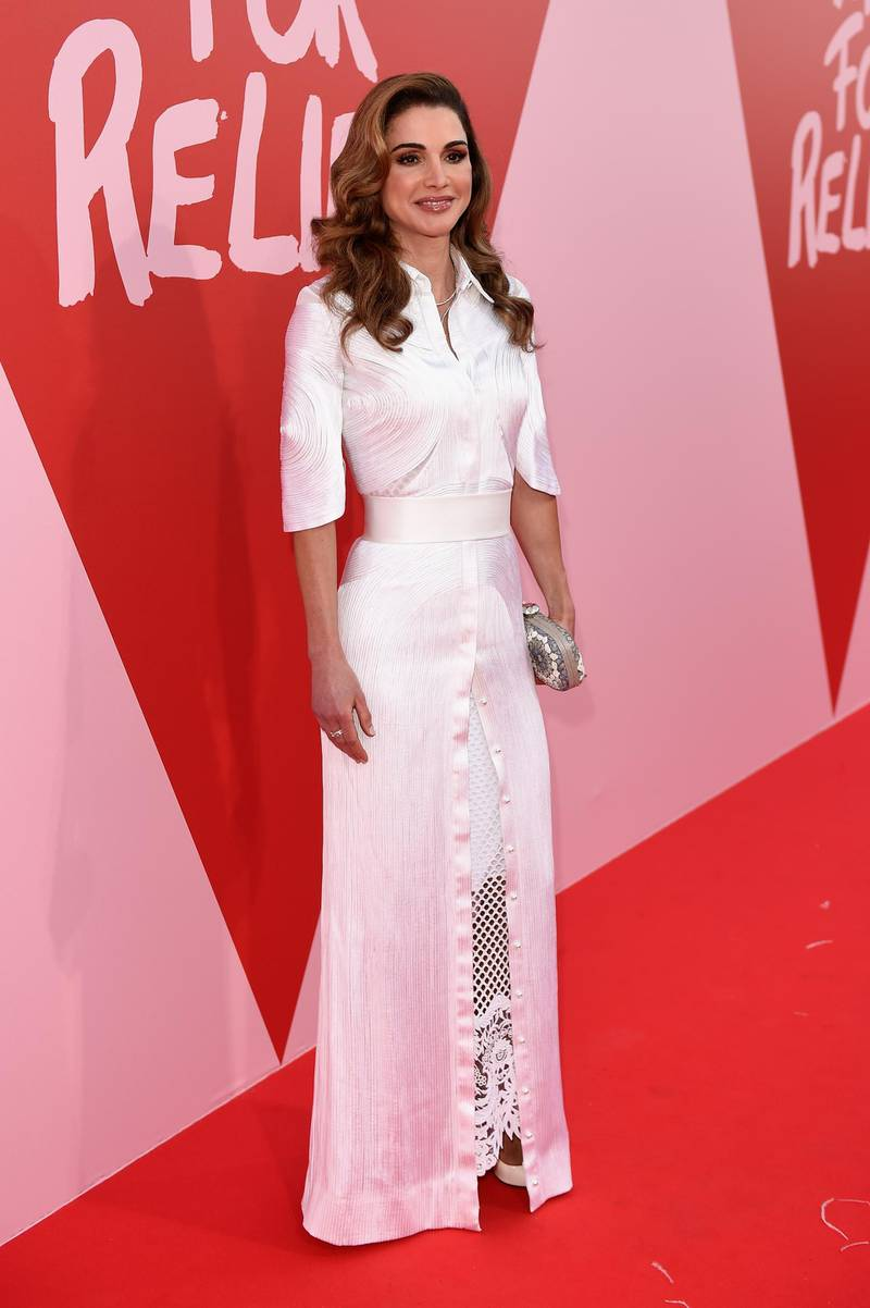 CANNES, FRANCE - MAY 21:  Jordan's Queen Rania attends the Fashion for Relief event during the 70th annual Cannes Film Festival at Aeroport Cannes Mandelieu on May 21, 2017 in Cannes, France.  (Photo by Antony Jones/Getty Images)