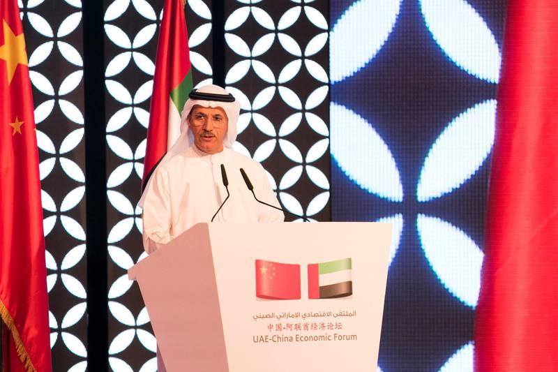 ABU DHABI, UNITED ARAB EMIRATES - JULY 20, 2018. H.E. Eng. Sultan Bin Saeed Al Mansoori UAE Minister of Economy at  the UAE-China Economic Forum.(Photo by Reem Mohammed/The National)Reporter: DANIA SAADISection: BZ