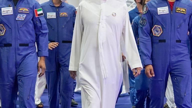 An image that illustrates this article Sheikh Mohammed bin Rashid and Emirati astronauts visit International Astronautical Congress