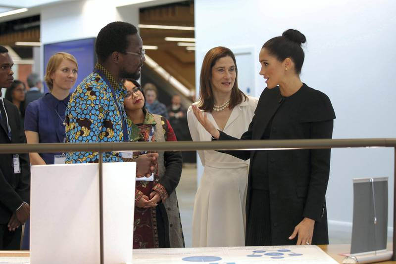 LONDON, ENGLAND - JANUARY 31: Meghan, Duchess of Sussex during a visit to the Association of Commonwealth Universities at University Of London on January 31, 2019 in London, England. In her new role as Patron of the international organisation which is dedicated to building a better world through higher education, the Duchess met students from the Commonwealth now studying in the UK, for whom access to university has transformed their lives. (Photo by Yui Mok - WPA Pool/Getty Images)