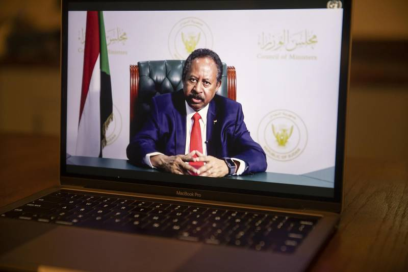 Abdalla Hamdok, Sudan's prime minister, speaks during the United Nations General Assembly seen on a laptop computer in Tiskilwa, Illinois, U.S., on Saturday, Sept. 26, 2020. The United Nations General Assembly met in a virtual environment for the first time in its 75-year history due to the pandemic. Photographer: Daniel Acker/Bloomberg