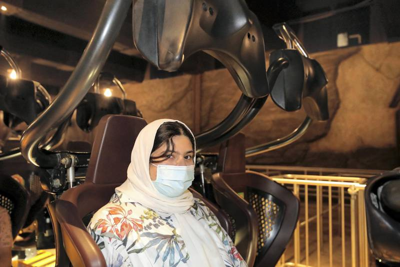 Dubai, United Arab Emirates - Reporter: N/A. Covid-19/Coronavirus. Visitors ride the Velociraptor. IMG World of Adventure opened on recently to the public with strict Covid-19/Coronavirus safety measures. Tuesday, July 21st, 2020. Dubai. Chris Whiteoak / The National
