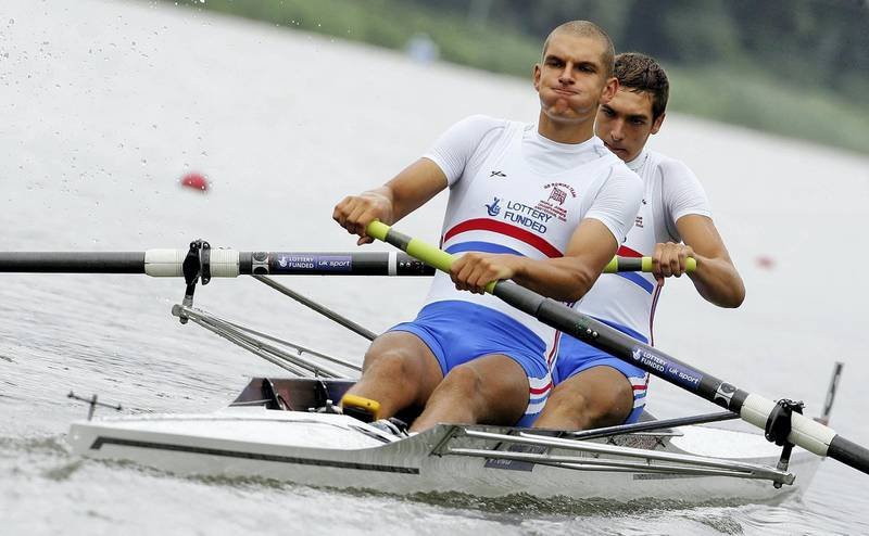 AMSTERDAM, NETHERLANDS - AUGUST 02:  Mohamed Sbihi (front) and Charles Cousins of Great Britain row during their junior men's pair heat during the World Rowing Junior Championships on the Bosbann river on August 2, 2006 in Amsterdam, Holland.  (Photo by Jamie McDonald/Getty Images)