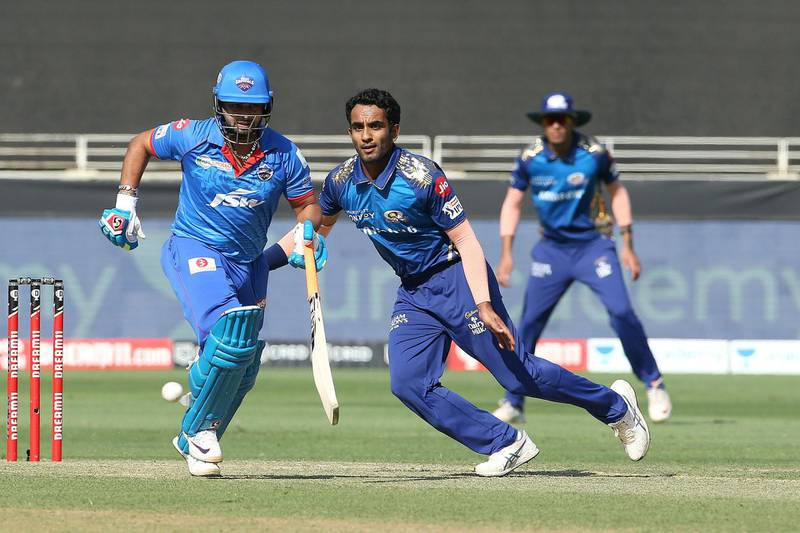 Jayant Yadav of Mumbai Indians during match 51 of season 13 of the Dream 11 Indian Premier League (IPL) between the Delhi Capitals and the Mumbai Indians held at the Dubai International Cricket Stadium, Dubai in the United Arab Emirates on the 31st October 2020.  Photo by: Ron Gaunt  / Sportzpics for BCCI