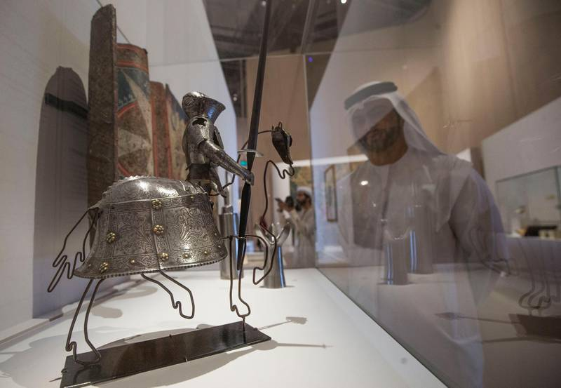 Abu Dhabi, United Arab Emirates- A miniature artwork of knight's and horse amour at Furusiyya The Art of Chivalry between East and West, which draws links between knightly traditions of Europe and the Middle East at Louvre Abu Dhabi.  Leslie Pableo for The National