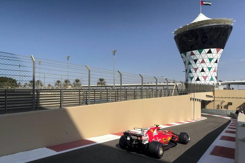 Abu Dhabi, United Arab Emirates, November 24, 2017:    Kimi Raikkonen of Finland and Ferrari during practise for the Abu Dhabi Formula One Grand Prix at Yas Marina Circuit in Abu Dhabi on November 24, 2017. Christopher Pike / The National  Reporter: Graham Caygill Section: Sport