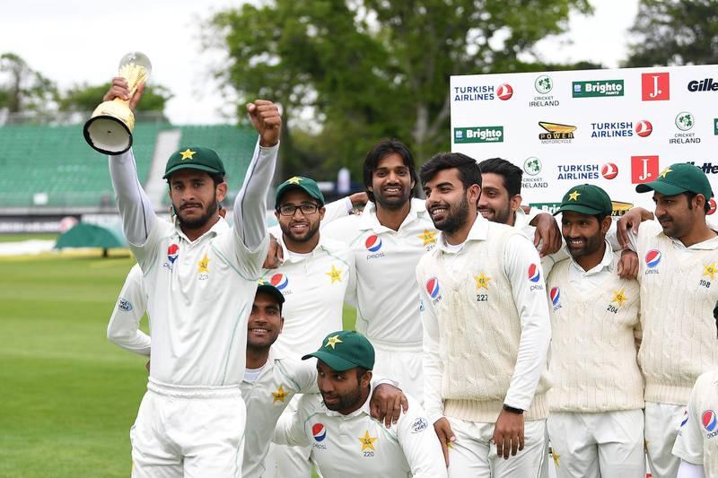Cricket - Test Match - Ireland vs Pakistan - The Village, Malahide, Ireland - May 15, 2018   Pakistan's Hasan Ali celebrates with the trophy and team mates after winning the test match  REUTERS/Clodagh Kilcoyne