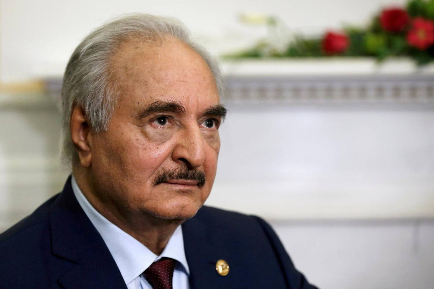 FILE PHOTO: Libyan commander Khalifa Haftar meets Greek Foreign Minister Nikos Dendias (not pictured) at the Foreign Ministry in Athens, Greece, January 17, 2020. REUTERS/Costas Baltas/File Photo