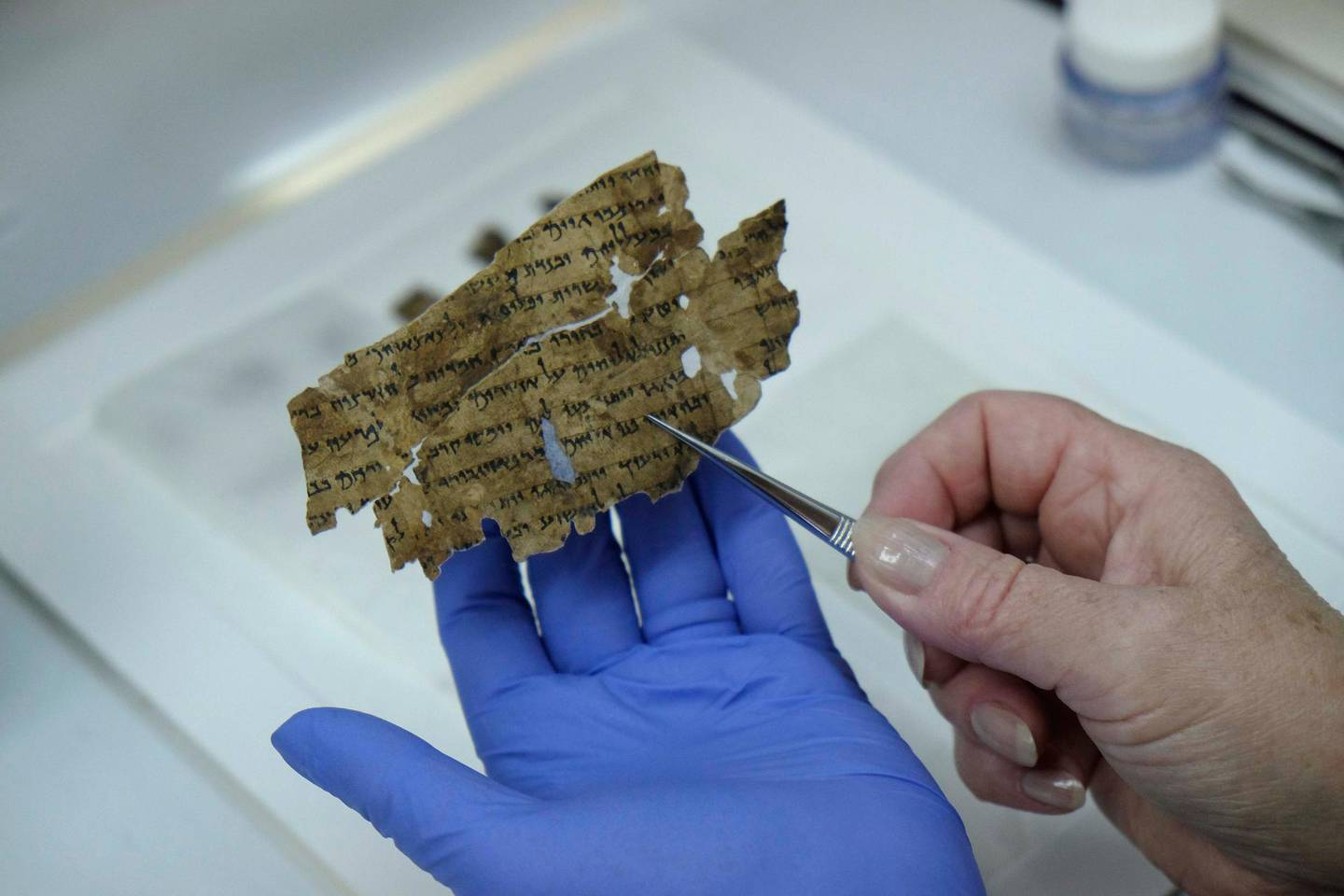 A worker of the Israeli Antiquity Authority sews fragments of the Dead Sea scrolls which includes biblical verses in a preservation laboratory of the Israel Museum in Jerusalem. Getty Images