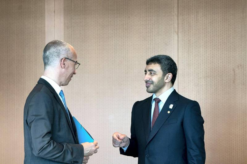 BERLIN, GERMANY - June 12, 2019: HH Sheikh Abdullah bin Zayed Al Nahyan UAE Minister of Foreign Affairs and International Cooperation (R), speaks with a German delegate (L), prior a meeting with HE Angela Merkel, Chancellor of Germany (not shown), at the Chancellor's Office in Berlin, Germany.  (Eissa Al Hammadi / For the Ministry of Presidential Affairs )