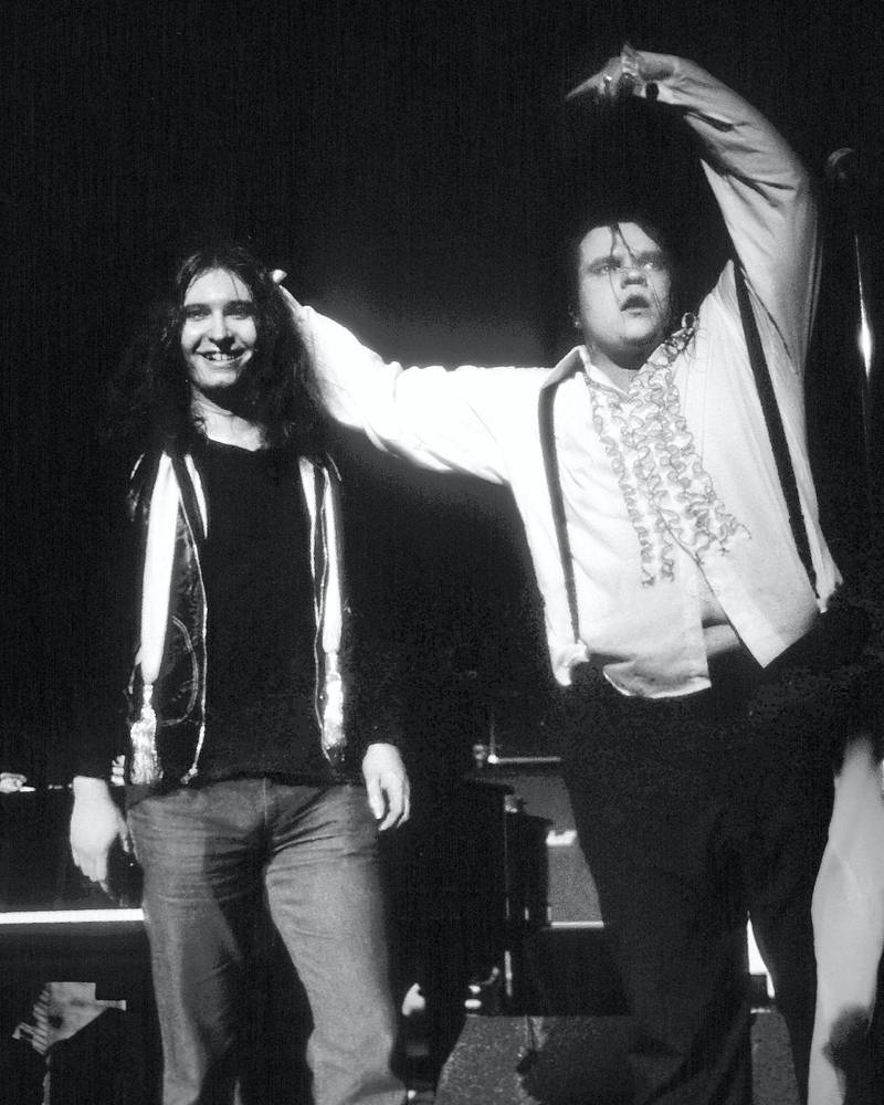 PHILADELPHIA - APRIL 6, 1978: Jim Steinman and Meatloaf on stage at the Tower Theater in Philadelphia on April 6, 1978.(Ron Pownall/Getty Images)