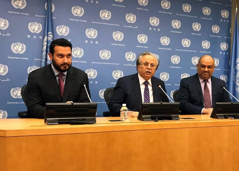 United Arab Emirates Deputy U.N. Ambassador Jamal Jama Ahmed Abdulla Al Musharakh, Saudi Arabia U.N. Ambassador Abdallah Al-Mouallimi, and Yemen U.N. Ambassador Khaled Hussein Mohamed Alyemany seen at the United Nations in New York, U.S. November 13, 2017.  REUTERS/Michelle Nichols