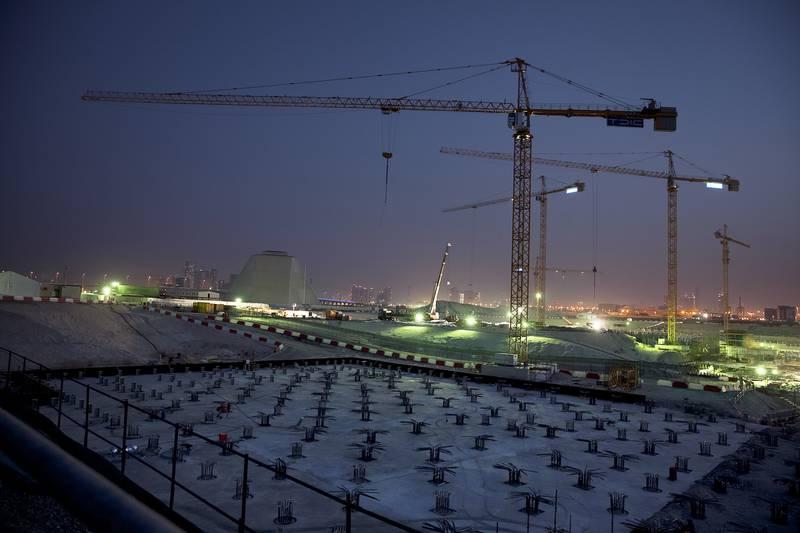 Abu Dhabi, United Arab Emirates, May 20, 2013: Construction continues into the evening and night on the Louvre Abu Dhabi on Monday, May 20, 2013, at the Saadiyat Island in Abu Dhabi.Silvia Razgova / The National