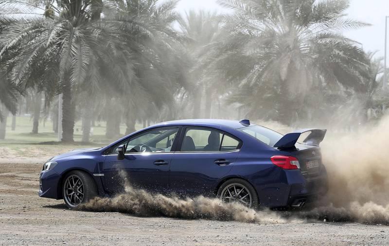 ABU DHABI , UNITED ARAB EMIRATES , APRIL 25  – 2018 :- Suburu WRX car during the road test in Abu Dhabi. ( Pawan Singh / The National ) For Arts & Life. Story by Adam Workman