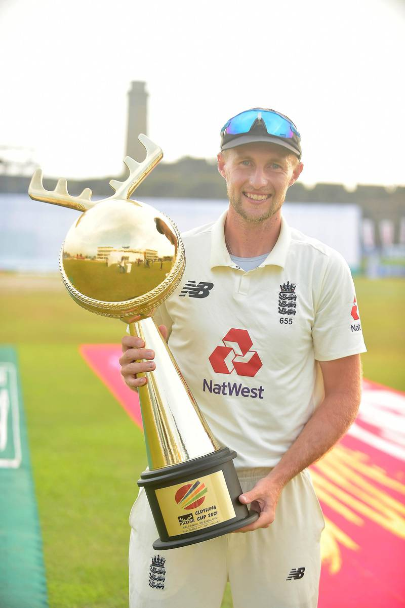 Joe Root, the England captain holds the 'Moose Clothing Cup 2021' trophy. Courtesy Sri Lanka Cricket