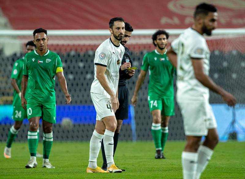 Arabian Gulf League final round: Al Jazira v Khorfakkhan at Mohamed bin Zayed stadium. Kosanovic of Jazira gets hs first yellow card during the first half of the game on May 11th, 2021. Victor Besa / The National.