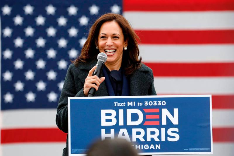 (FILES) In this file photo taken on October 25, 2020 Democratic vice presidential nominee Senator Kamala Harris (D-CA) speaks at a campaign stop at IBEW Local 58 in Detroit, Michigan.  Joe Biden has won the US presidency over Donald Trump, TV networks projected on November 7, 2020, a victory sealed after the Democrat claimed several key battleground states won by the Republican incumbent in 2016. CNN, NBC News and CBS News called the race in his favor, after projecting he had won the decisive state of Pennsylvania. His running mate, US Senator Kamala Harris, has become the first woman US Vice President elected to the office. / AFP / JEFF KOWALSKY