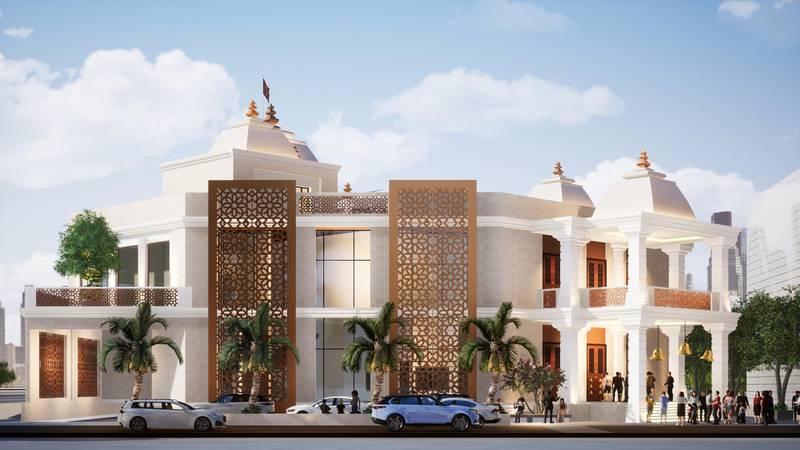 Rendering of The Hindu Temple, Jebel Ali. Courtesy Hindu Temple, Jebel Ali