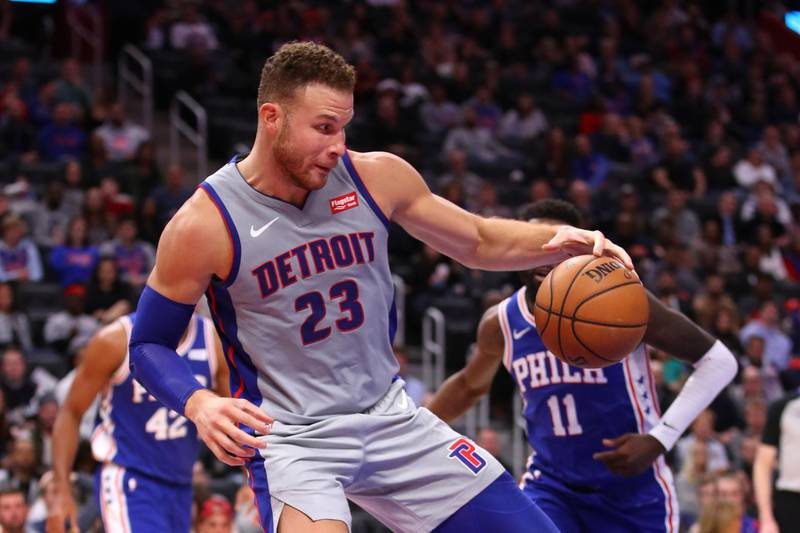 DETROIT, MICHIGAN - DECEMBER 23: Blake Griffin #23 of the Detroit Pistons plays against the Philadelphia 76ers at Little Caesars Arena on December 23, 2019 in Detroit, Michigan. NOTE TO USER: User expressly acknowledges and agrees that, by downloading and or using this photograph, User is consenting to the terms and conditions of the Getty Images License Agreement.   Gregory Shamus/Getty Images/AFP