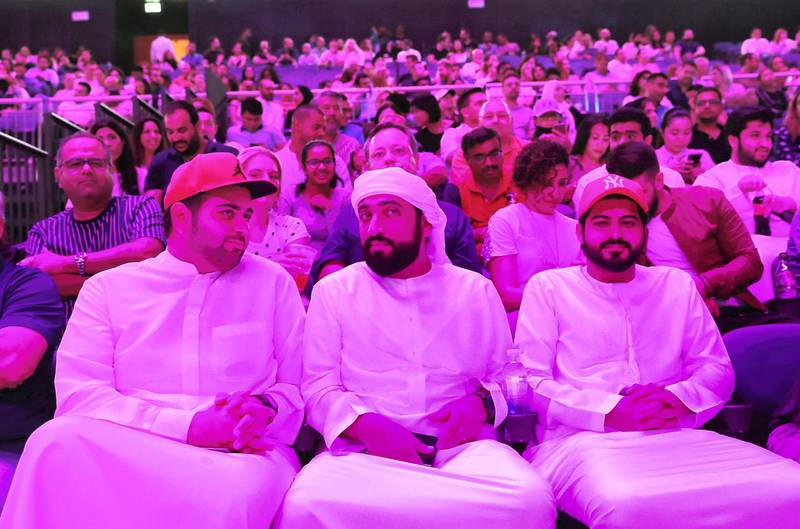 DUBAI ,  UNITED ARAB EMIRATES , JUNE 06 – 2019 :- People enjoying the Russell Peters show held at the new Coca Cola Arena, City Walk in Dubai. ( Pawan Singh / The National ) For News/Online/Instagram