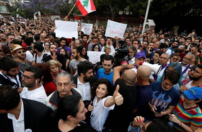 Independent parliamentary candidate Joumana Haddad gestures during a protest in Beirut, Lebanon May 7, 2018. REUTERS/Jamal Saidi