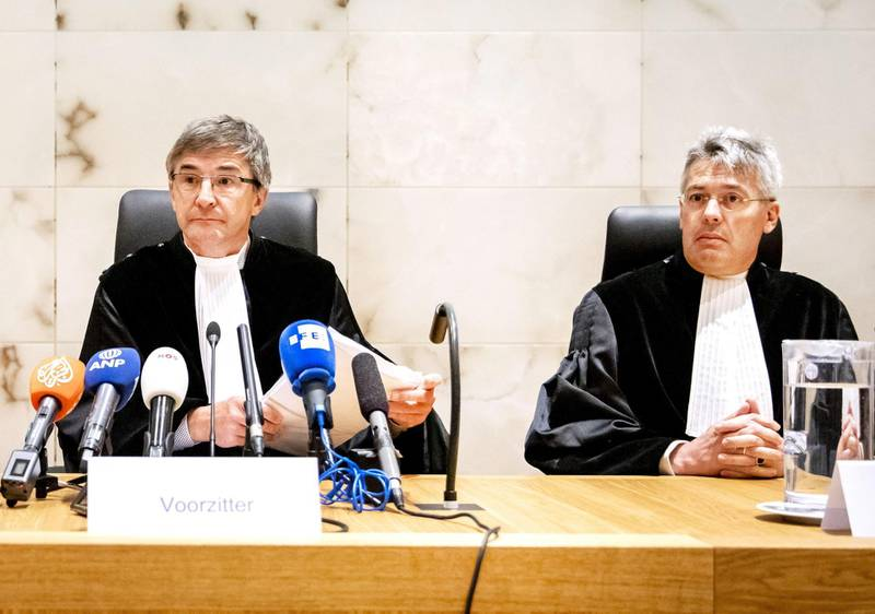 """President C.A. Streefkerk (L) looks on before the Supreme Court ruling in the cassation proceedings of """"the Mothers of Srebrenica"""" (group of victims' relatives) case against the Dutch State at the Dutch supreme court on July 19, 2019 in the Hague.  The Dutch Supreme Court said on July 19, 2019 the government has only """"very limited liability"""" for the deaths of hundreds of Muslims in the Srebrenica massacre in 1995, only partially upholding a lower court's ruling. - Netherlands OUT  / AFP / ANP / Remko de Waal"""