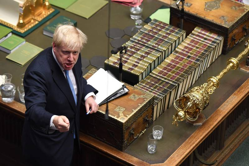 """A handout photograph taken and released by the UK Parliament on July 25, 2019 shows Britain's Prime Minister Boris Johnson speaking in the Houses of Parliament in central London.  - EDITORS NOTE THE IMAGE HAS BEEN DIGITALLY ALTERED AT SOURCE TO OBSCURE VISIBLE DOCUMENTS  - RESTRICTED TO EDITORIAL USE - NO USE FOR ENTERTAINMENT, SATIRICAL, ADVERTISING PURPOSES - MANDATORY CREDIT """" AFP PHOTO /JESSICA TAYLOR/ UK Parliament""""   / AFP / UK PARLIAMENT / JESSICA TAYLOR / EDITORS NOTE THE IMAGE HAS BEEN DIGITALLY ALTERED AT SOURCE TO OBSCURE VISIBLE DOCUMENTS  - RESTRICTED TO EDITORIAL USE - NO USE FOR ENTERTAINMENT, SATIRICAL, ADVERTISING PURPOSES - MANDATORY CREDIT """" AFP PHOTO /JESSICA TAYLOR/ UK Parliament"""""""