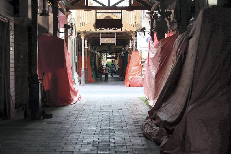 DUBAI, UNITED ARAB EMIRATES , March 24 – 2020 :- View of the closed shops at the Utensil Souq in Deira as people are staying home as a preventive measure against coronavirus in Deira Dubai. (Pawan Singh / The National) For News/Online/Standalone.