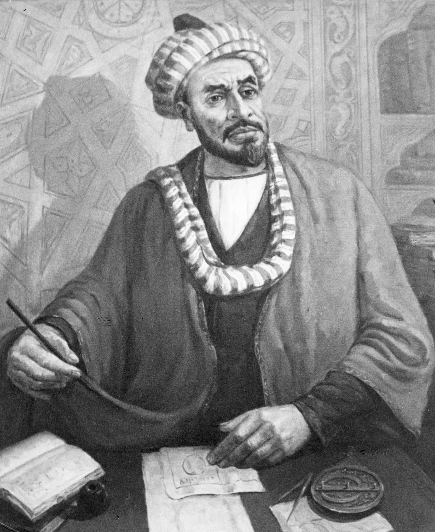 Portrait of mohaded al-khorezmi (al khwarizmi), uzbek mathematician, geographer and astronomer, 780-850 ad, painting by 20th century uzbek artist m, nabiyev, 1982. (Photo by: Sovfoto/UIG via Getty Images)
