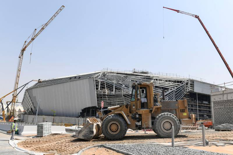 Abu Dhabi, United Arab Emirates - Closer view of the Yas Arena, a multi-purpose arena under construction at the waterfront, Yas Marina. Khushnum Bhandari for The National